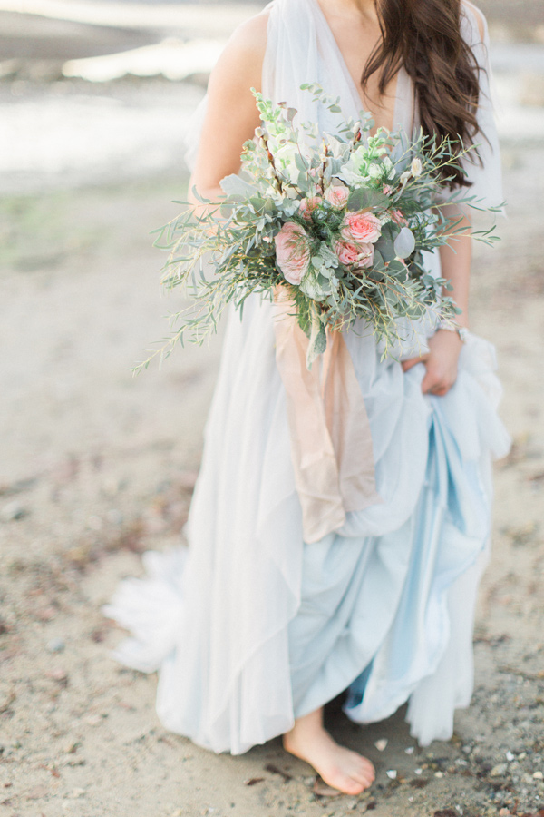 blue wedding gown - photo by Simply Sweet Photography by Nomo Akisawa http://ruffledblog.com/nordic-beach-wedding-inspiration