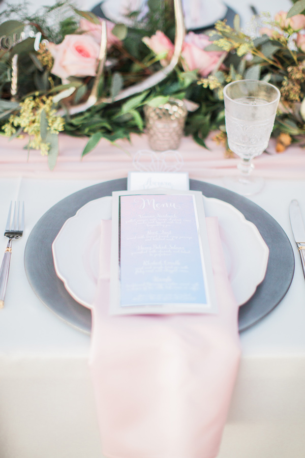 pink and blue place setting - photo by Simply Sweet Photography by Nomo Akisawa http://ruffledblog.com/nordic-beach-wedding-inspiration