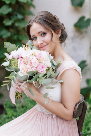 Pink peony and eucalyptus bridal bouquet | Elisaveta Sudarikova Photography