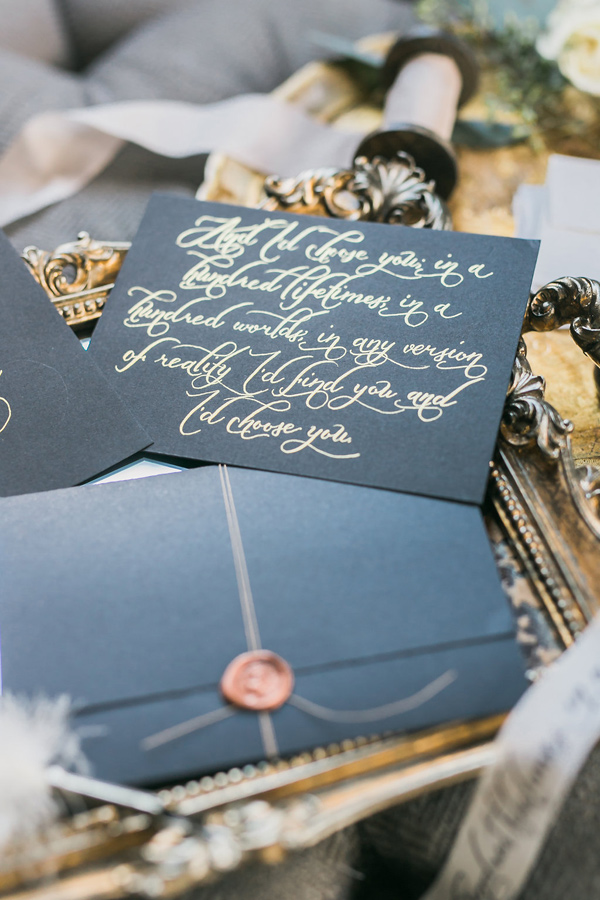 gold calligraphy - photo by Rhythm Photography http://ruffledblog.com/historic-estate-engagement-inspiration