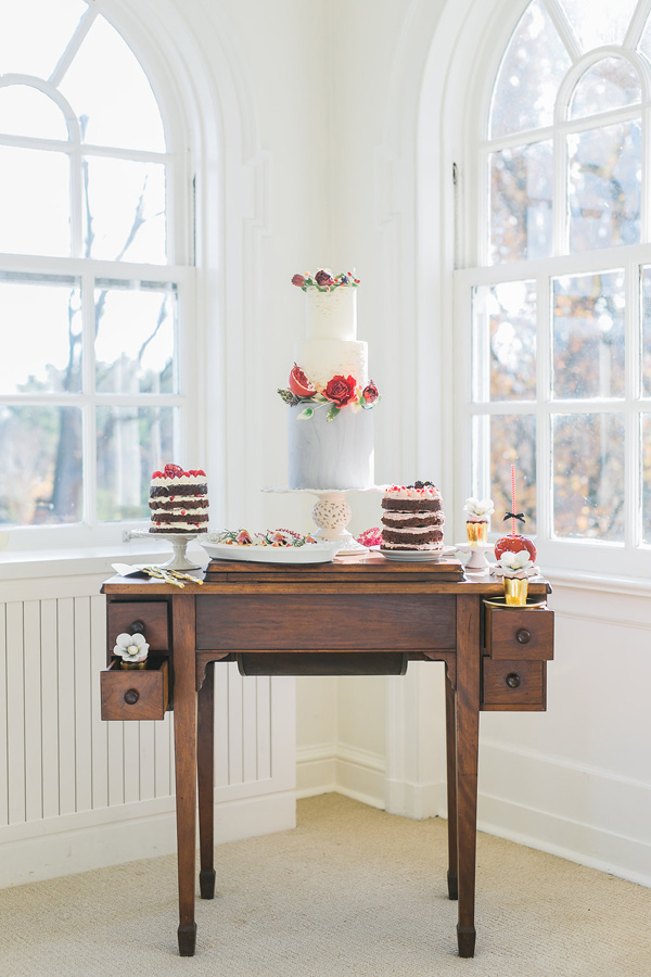 romantic cake table - photo by Rhythm Photography http://ruffledblog.com/historic-estate-engagement-inspiration
