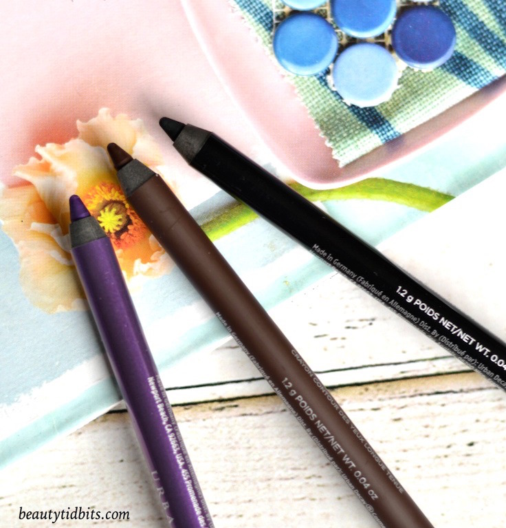 Urban Decay 24/7 Glide-On Eye Pencils - Psychedelic Sister (bright purple cream), Demolition (deep brown matte) and Zero (zealous black cream)