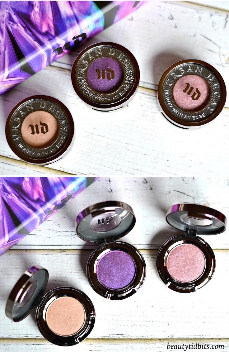 With 3 full-sized eyeshadows and 3 full-sized 24/7 eyeliner pencils plus a deluxe sized primer, Urban Decay Urban Essentials Eye Kit is an amazing value set for only $  48! Click through for more details and swatches! These are the 3 eyeshadows that are included in the set - Sellout, Psychedelic Sister and Bordello