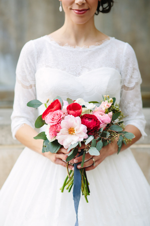 pink and red bouquet - photo by Mary Costa Photography http://ruffledblog.com/schoolhouse-charm-wedding-inspiration