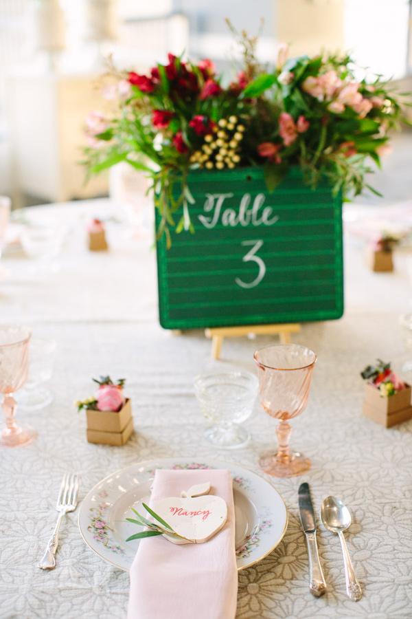 school inspired wedding - photo by Mary Costa Photography http://ruffledblog.com/schoolhouse-charm-wedding-inspiration