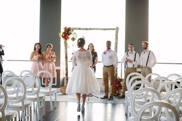 wedding ceremony - photo by Mary Costa Photography http://ruffledblog.com/schoolhouse-charm-wedding-inspiration