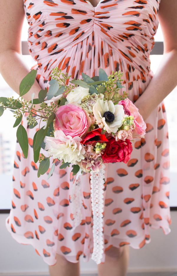 pink and red bouquet - photo by Peterson Design and Photography http://ruffledblog.com/schoolhouse-charm-wedding-inspiration
