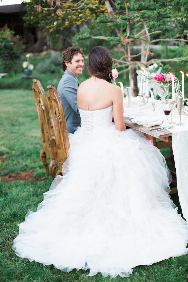 Classic wedding dress with ruffles and a corset back | Stephanie Ponce Photography