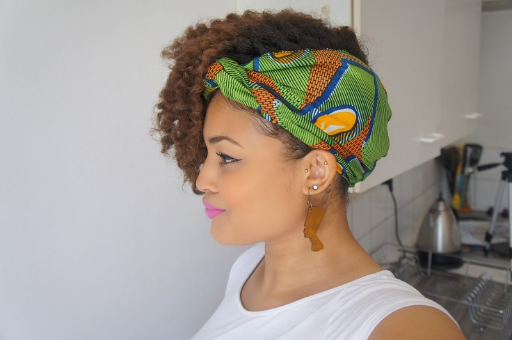 Side Swept Flat Twist Out with Scarf