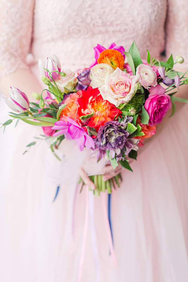colorful spring bouquet - photo by Tina Jay Photography http://ruffledblog.com/bright-and-modern-vow-renewal