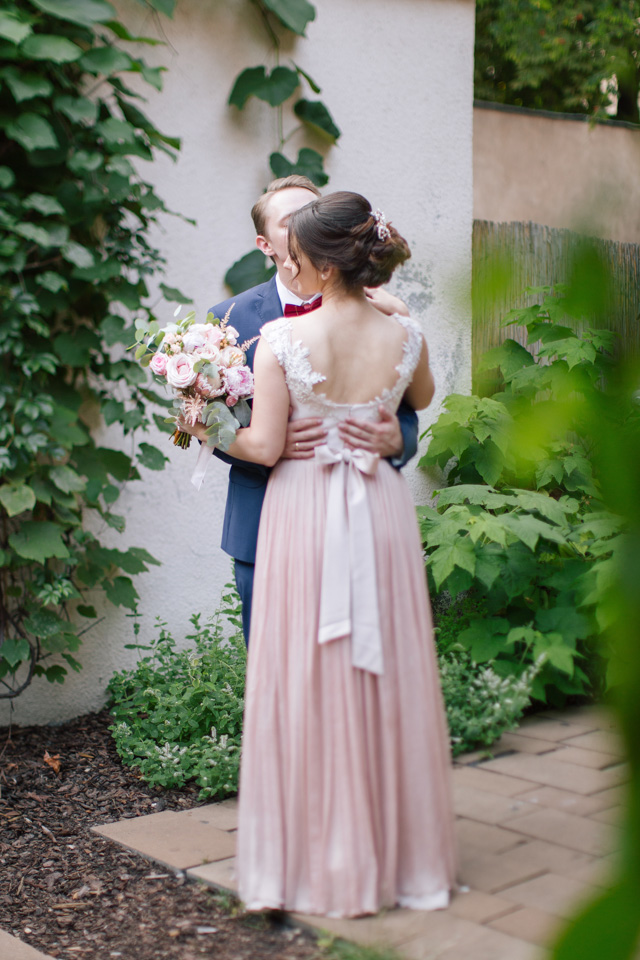 Blush pink pleated wedding dress | Elisaveta Sudarikova Photography