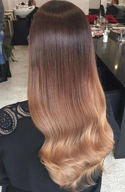 Caramel Balayage Highlights on Dark Brown Hair