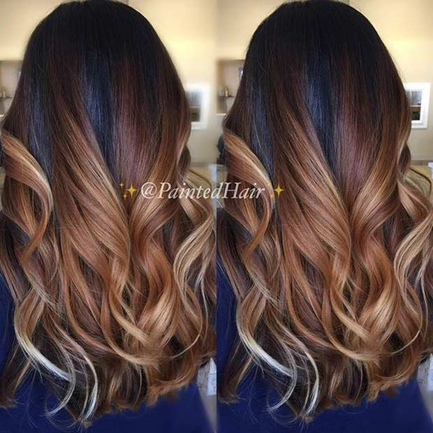Chocolate Caramel Balayage Highlights for Dark Hair
