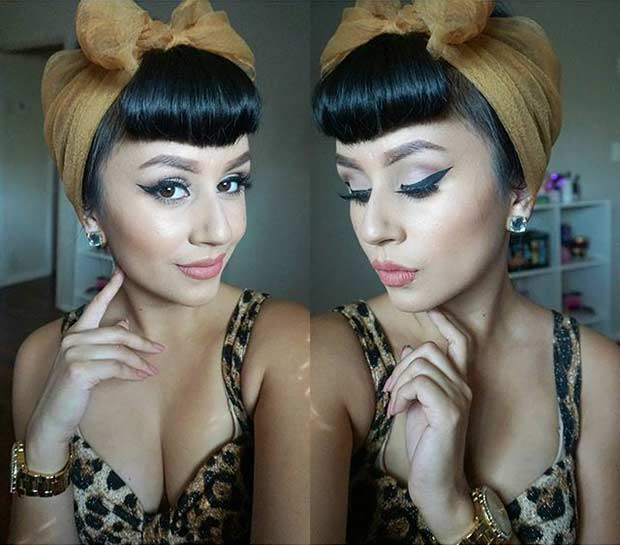 Pin Up Updo with a Scarf