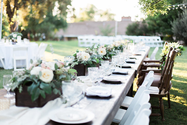 Banquet table wedding reception | Stephanie Ponce Photography