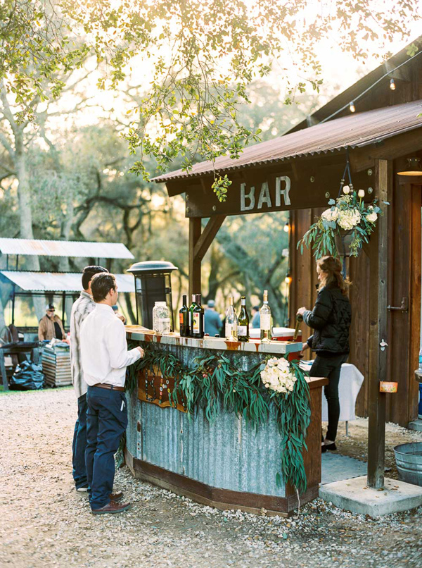 reception bar - photo by Danielle Poff http://ruffledblog.com/arroyo-grande-barn-wedding