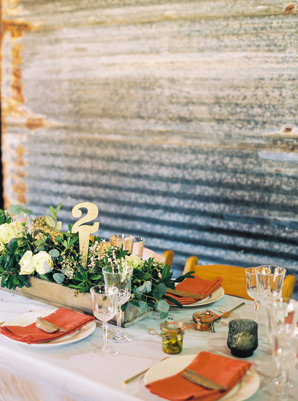 industrial inspired reception - photo by Danielle Poff http://ruffledblog.com/arroyo-grande-barn-wedding