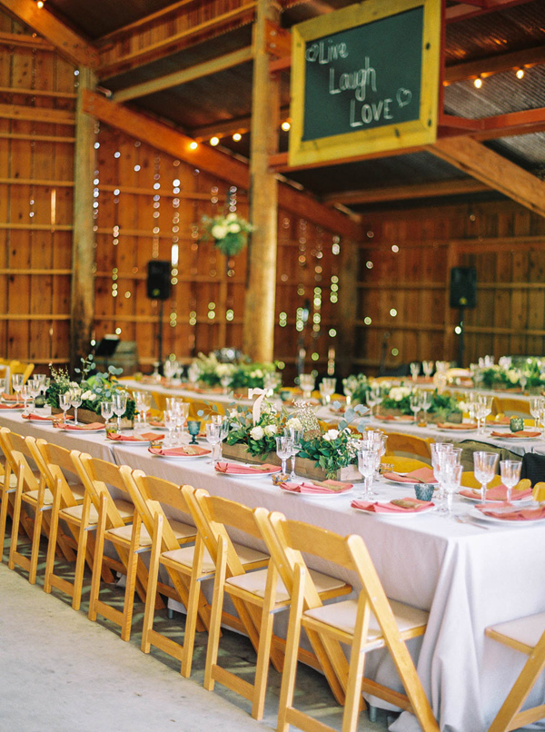 barn wedding reception - photo by Danielle Poff http://ruffledblog.com/arroyo-grande-barn-wedding