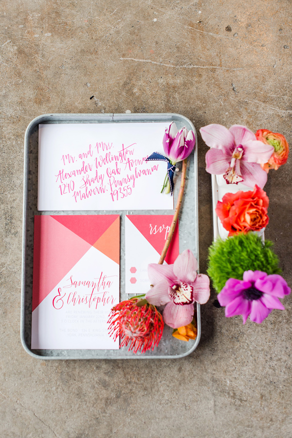 colorful wedding invitations - photo by Tina Jay Photography http://ruffledblog.com/bright-and-modern-vow-renewal