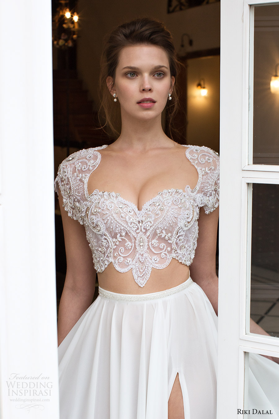 riki dalal bridal 2016 cap sleeves illusion crop top heavily embellished bodice a line wedding dress (1811) zv slit skirt mv edgy romantic