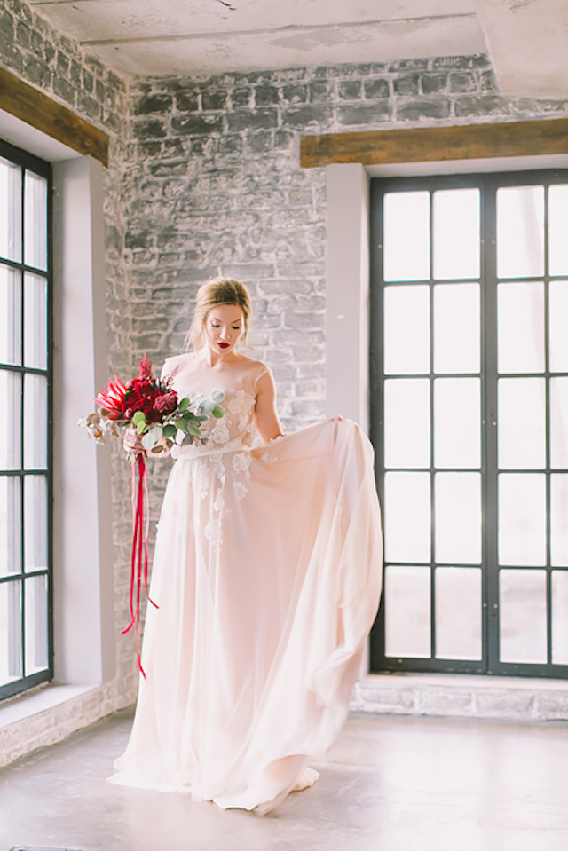 Romantic wedding dress with a slight blush hue | Natalia Donskih Photography