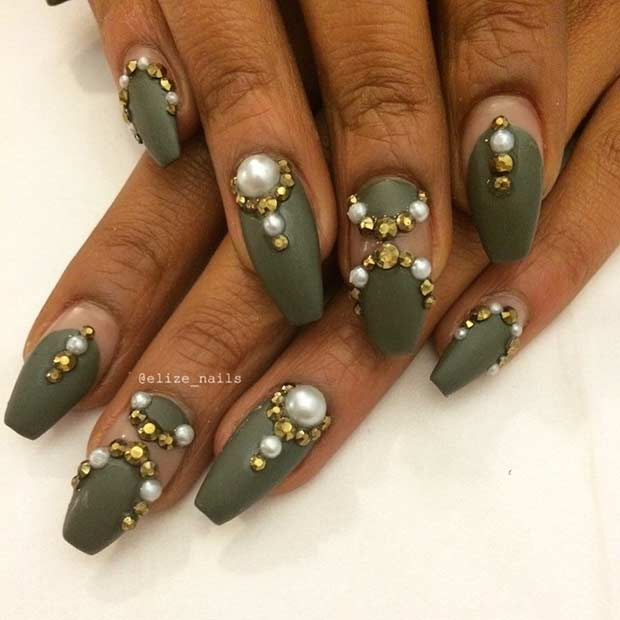 Army Green Coffin Nails with Golden Details