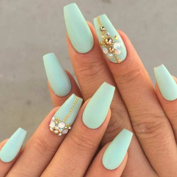Mint Green Coffin Nails with Gold Details
