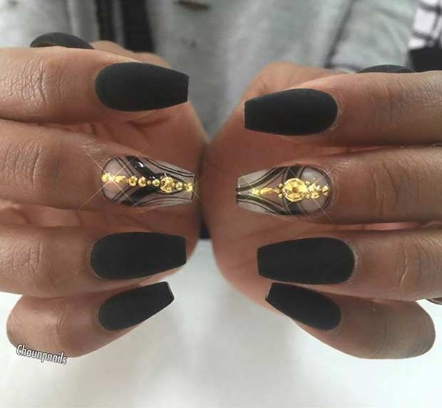 Black Matte Coffin Nails with Gold Details