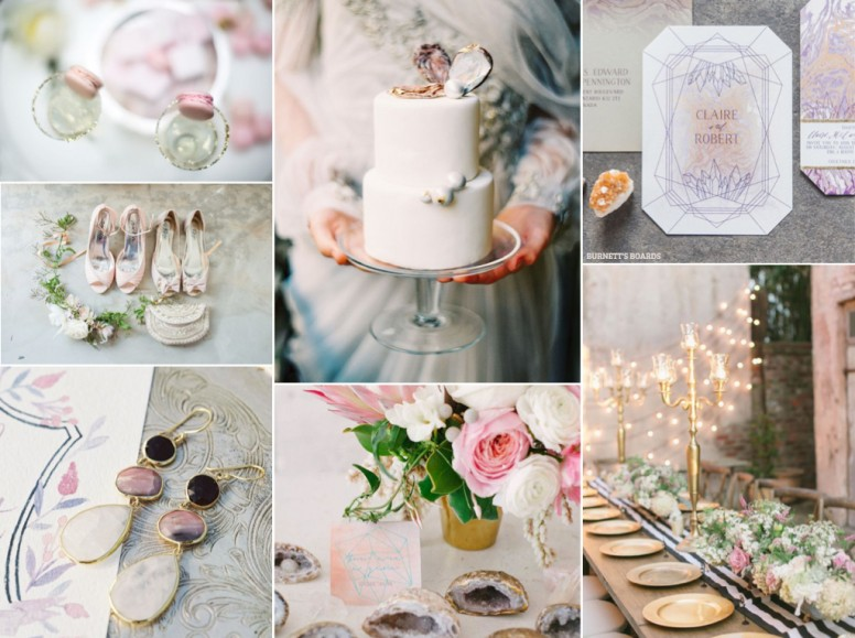 Pearl and geode wedding inspiration board in pantone's rose quartz and lavender