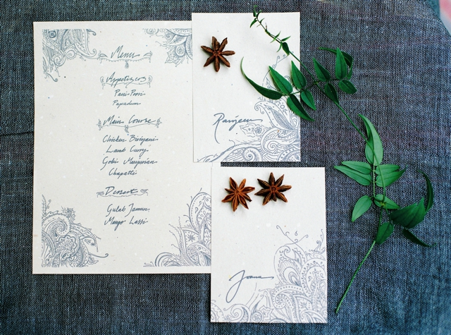 Indian-inspired hand-lettered menu   5 Photography