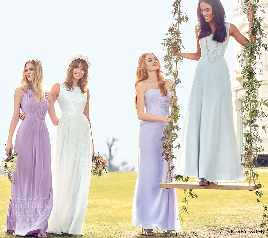 kelsey rose bridal party 2016 pastel mix match mismatched bridesmaid dresses lavender wisteria purple lilac shades