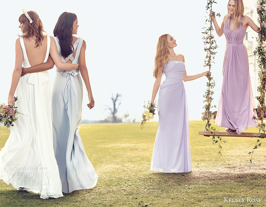 kelsey rose bridal party 2016 pastel mix match mismatched bridesmaid dresses lavender wisteria purple lilac spring colors wedding inspiration