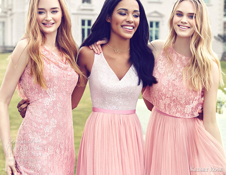 kelsey rose bridesmaids 2016 mix match mismatched lace bridesmaid dresses blush pink rose wedding party