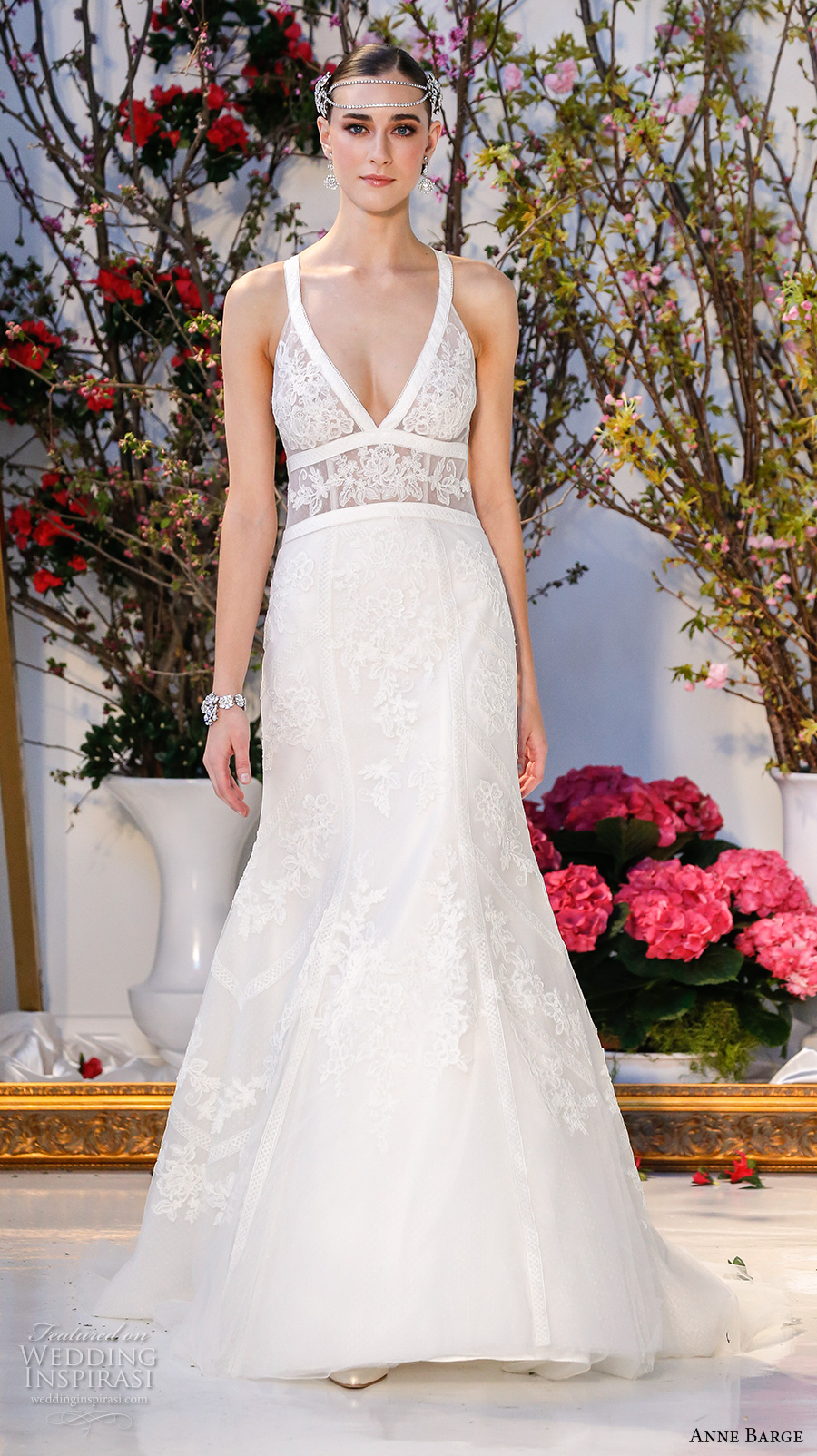 anne barge spring 2017 bridal sleevless strap plunging v neck lace bodice sexy fit to flare wedding dress low back sweep train (002) mv