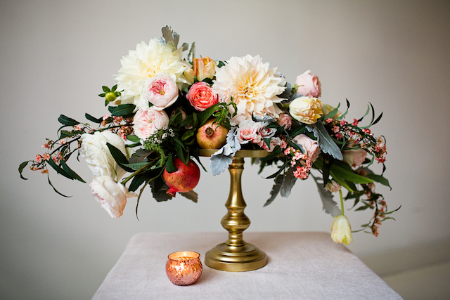 Peach, blush, yellow, and grayed jade floral centerpiece | Betsi Ewing Photography | @AisleSociety and @Minted | #aislesociety #MintedWeddings #ASforMinted #styledbyaislesociety