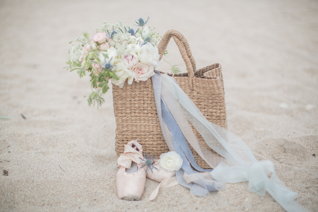 Pastel bouquet in a basket with ballet shoes | 1313 Photography