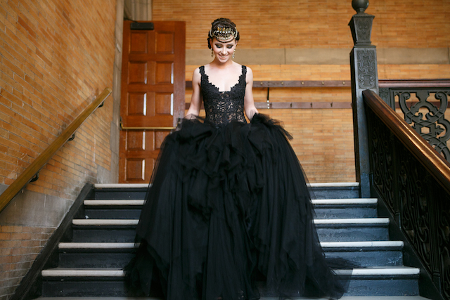 Winnie Couture black tulle and lace wedding dress | Syed Yaqeen and Roadshow Wedding