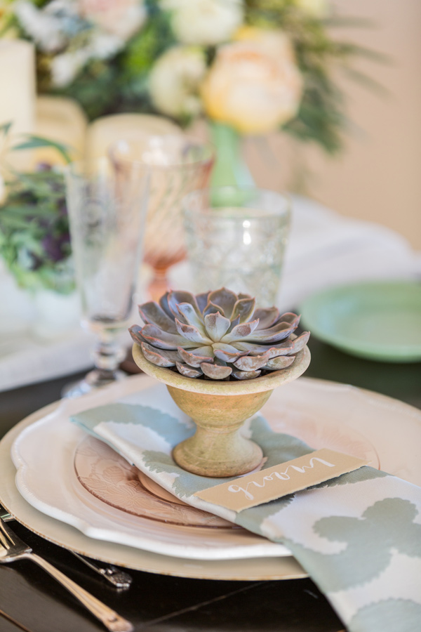 succulent place setting - photo by McCoy Made Photography http://ruffledblog.com/mackinac-island-wedding-inspiration
