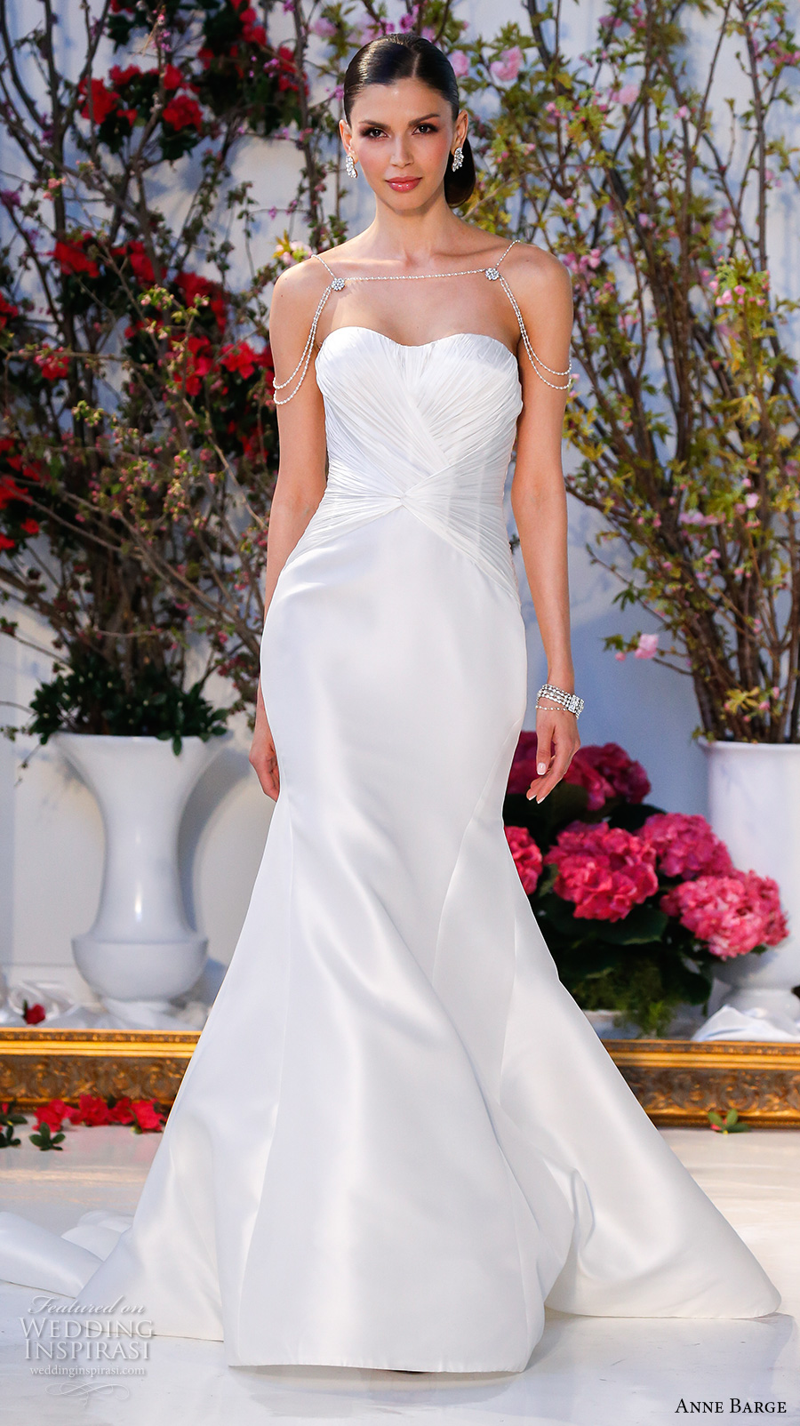 anne barge spring 2017 bridal strapless semi sweetheart neckline ruched bodice elegant mermaid wedding dress cathedral train (009) mv