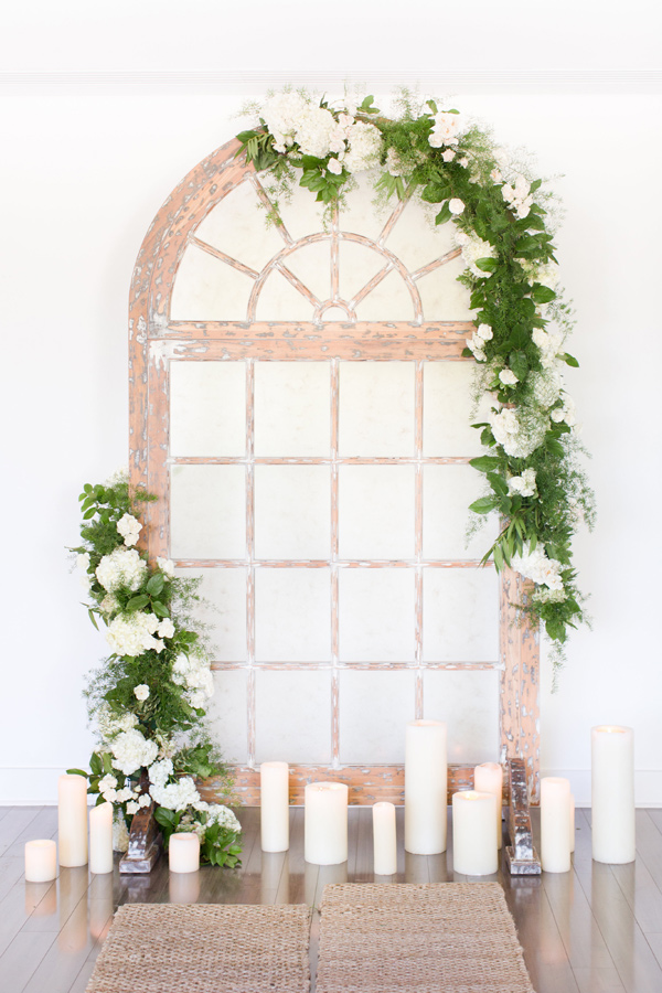 ceremony window pane background - photo by Amy and Jordan Photography http://ruffledblog.com/handcrafted-romance-wedding-inspiration