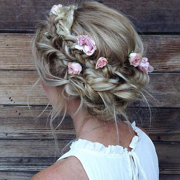 Messy Braided Updo with Flowers