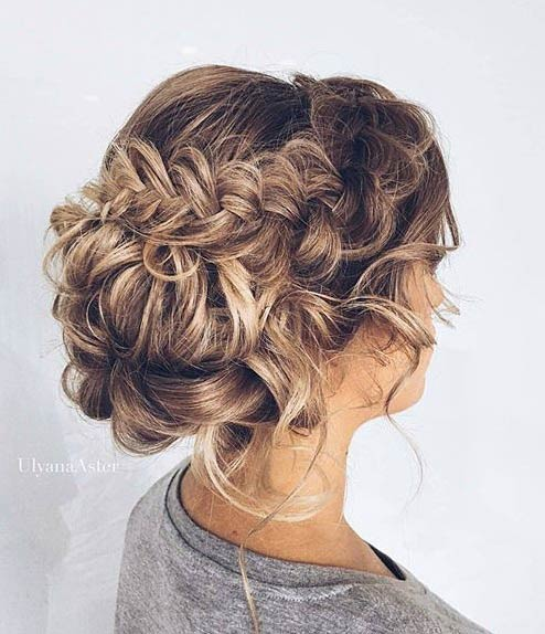 Messy Braided Updo for Prom