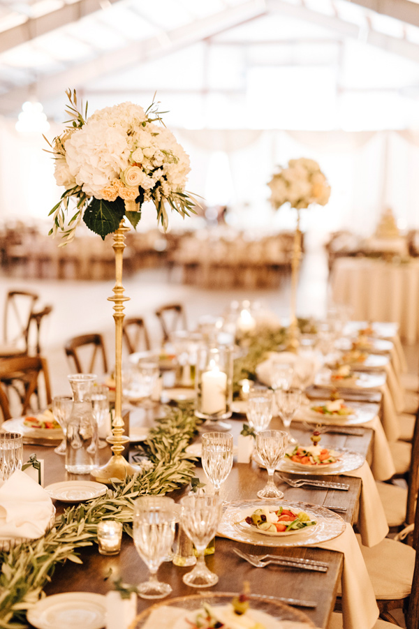 tall elegant centerpiece - photo by Steve Stanton Photography http://ruffledblog.com/greek-inspired-colorado-ranch-wedding