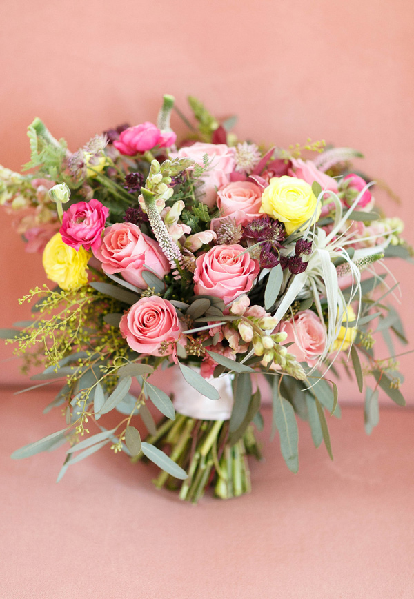 pink and yellow bouquet - photo by Virginia Ashley Photography http://ruffledblog.com/mermaid-bride-wedding-inspiration