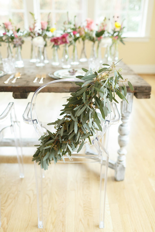 eucalyptus chair swag - photo by Virginia Ashley Photography http://ruffledblog.com/mermaid-bride-wedding-inspiration