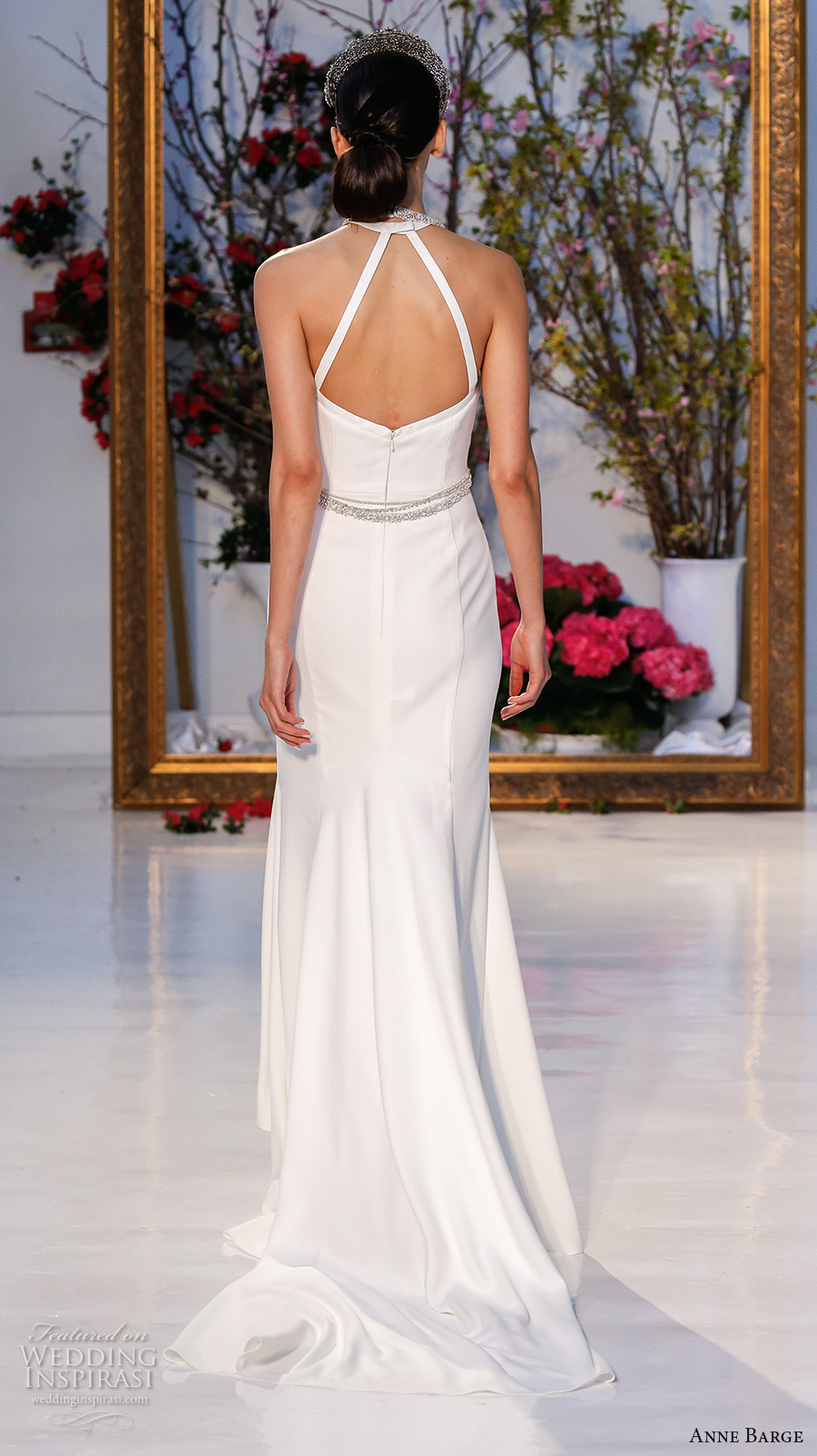 anne barge spring 2017 bridal sleeveless cross strap jeweled neckline simple chic sheath wedding dress sweep train (019) bv