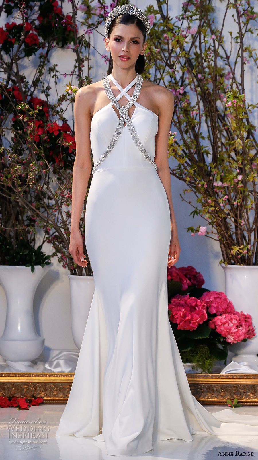 anne barge spring 2017 bridal sleeveless cross strap jeweled neckline simple chic sheath wedding dress sweep train (019) mv