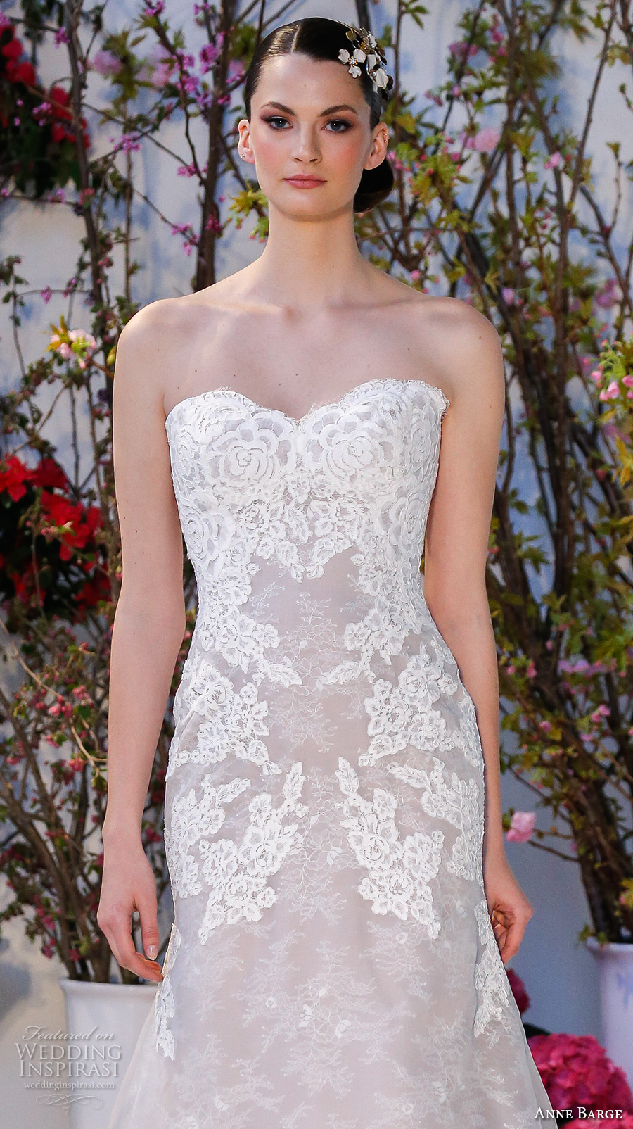 anne barge spring 2017 bridal strapless sweetheart neckline lace embellished bodice beautiful elegant fit to flare wedding dress chapel train (017) zv