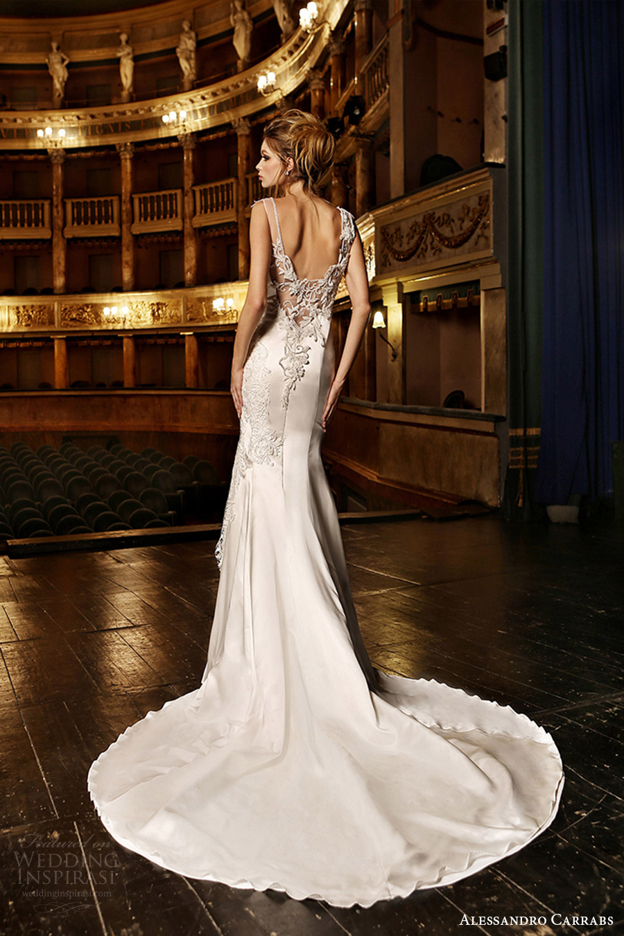 alessandro carrabs couture bridal 2016 sleeveless boat neck trumpet wedding dress (001) bv sheer back train