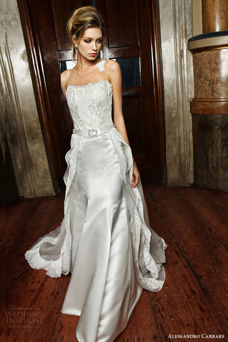 alessandro carrabs couture bridal 2016 sleeveless illusion jewel lace bodice fit flare wedding dress (009) mv overskirt train